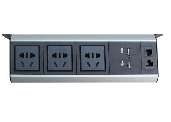 Universal Under Desk Outlet Power Strip Dengan 2 * USB Charger / 1 * LAN